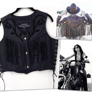 Leather Gallery Jackets & Coats - LEATHER GALLERY FRINGE WESTERN MOTORCYCLE VEST M